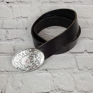 Vtg Levis Boho Western Floral Buckle Leather Belt